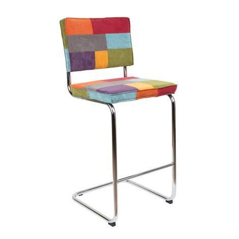 chaise de bar ridge rib patchwork multicolore achat vente chaise chrome nylon polyester. Black Bedroom Furniture Sets. Home Design Ideas