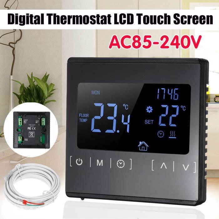 Thermostat /à /écran tactile LCD 16/A Sol et Air Sensing Thermostat