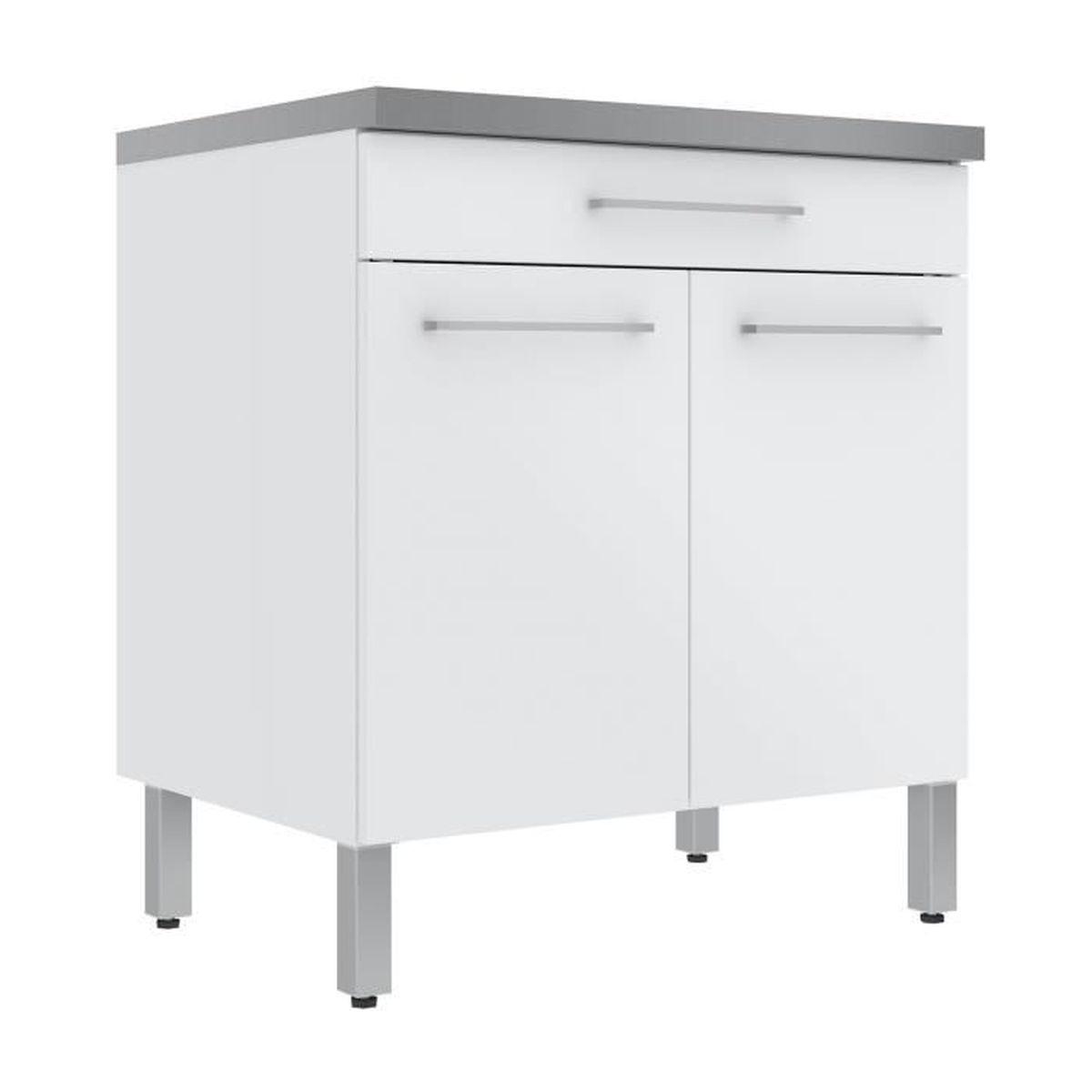 Elia Meuble de cuisine bas 144 portes et 14 tiroir blanc 14cm - Blanc