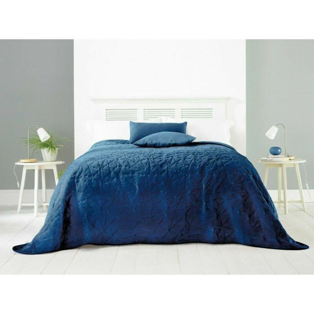 Bleu et Vert Clair 2 taies doreiller 63x63cm en mati/ère Grande Taille L22G Boutis Jet/ée De Lit Couvre-lit piqu/é Bicolore en 230x250cm
