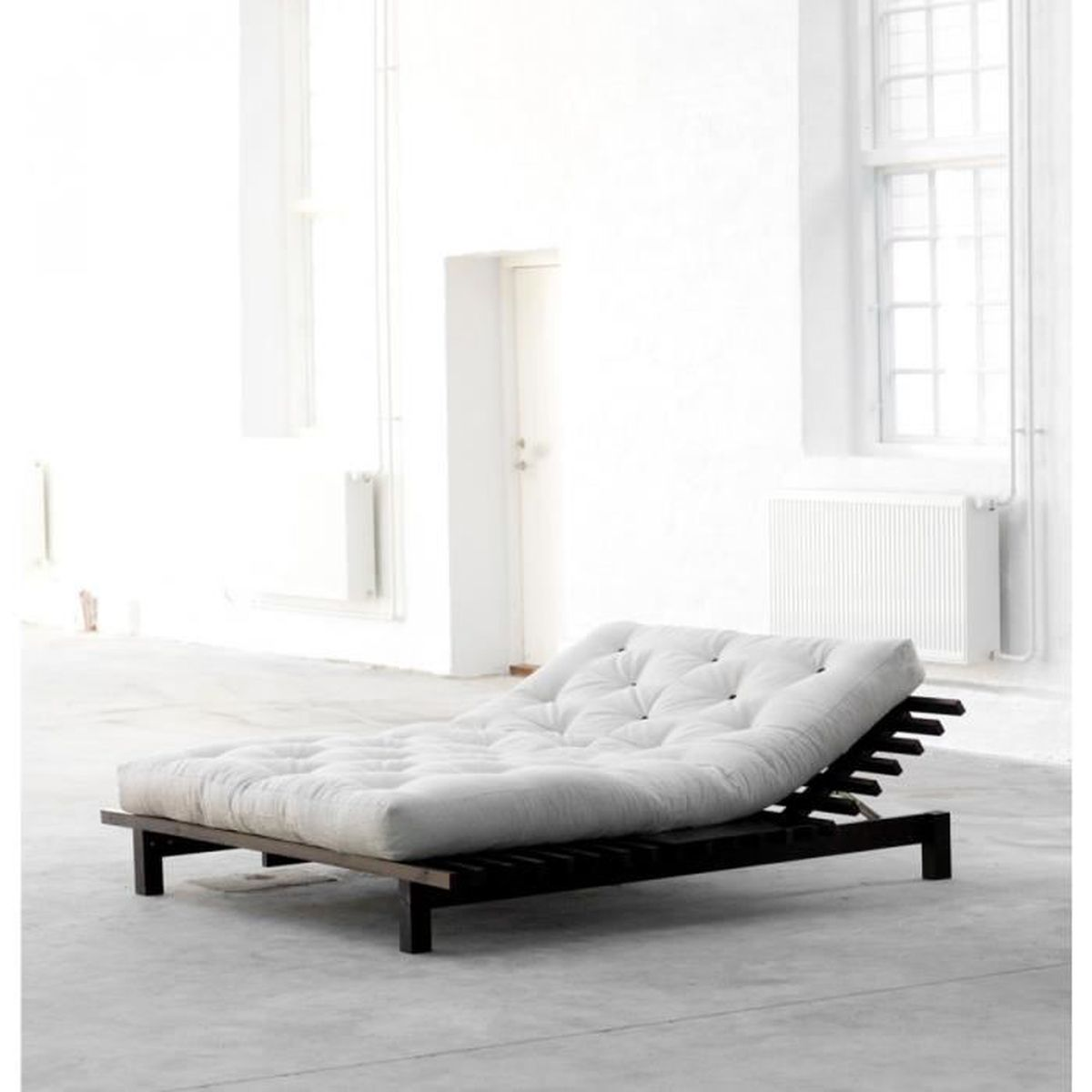 lit futon blues en bois weng 140x200 terre de nuit. Black Bedroom Furniture Sets. Home Design Ideas