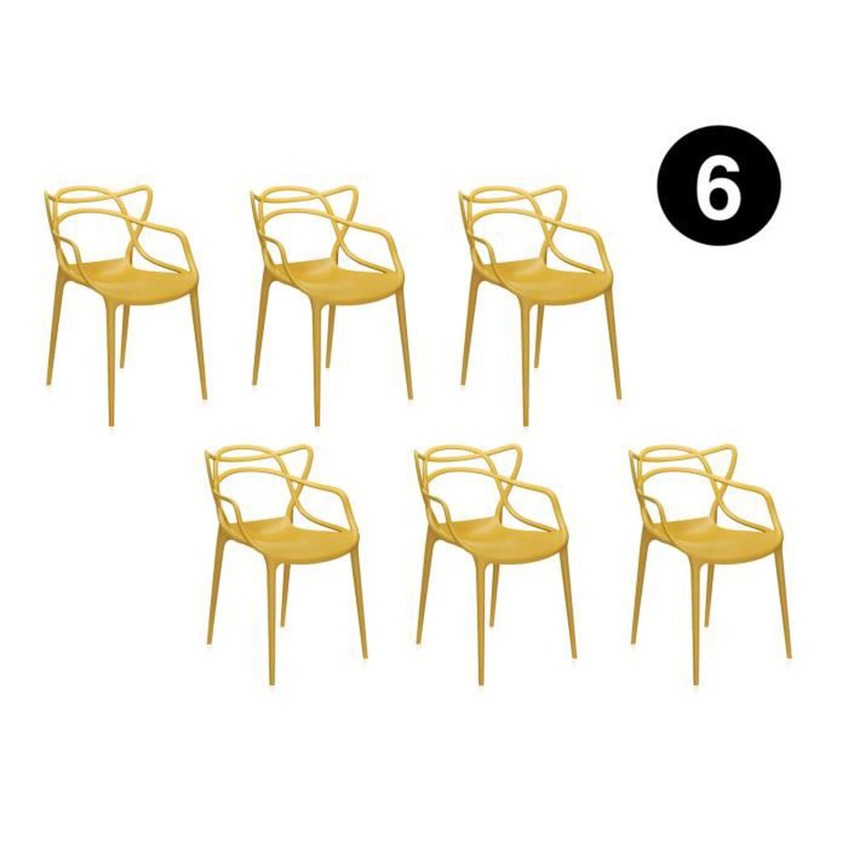 Starck de Masters MIAMI inspirée moutarde 6 chaises Lot ON0w8vnmy