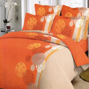 parure de drap orange achat vente parure de drap orange pas cher cdiscount. Black Bedroom Furniture Sets. Home Design Ideas
