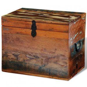 PETIT MEUBLE RANGEMENT  Coffre de stockage en bois recyclé solide - DM2416
