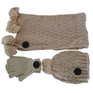 BONNET - CAGOULE Ensemble bonnet  écharpe et gants beige Lancy