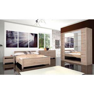 CHAMBRE COMPLÈTE  Chambre complète EBON chêne clair 160 x 200 cm - C