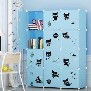 ARMOIRE DE CHAMBRE Armoire Etagère Plastique Enfants 12 Cubes Bleu, A