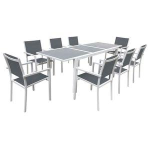 Salon de jardin Naevia 8 places en aluminium et textilène ...