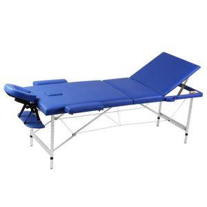 Table de massage Table de Massage Pliante 3 Zones Bleu Cadre en Alu