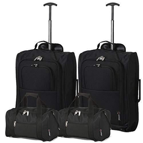 5 Cities Set of 2 Ryanair Cabin Approved Main & Second Hand Luggage - Carry on Both Bagage Cabine, 54 cm, 42 liters, Noir (Black)