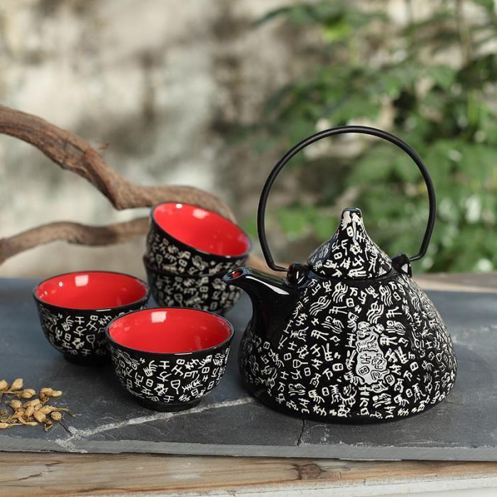 Panbado Service à Thé Kung Fu Asiatique - 4 Tasses 1 Théière Chinoise en Porcelaine Céramique Style Zen Noir+Rouge