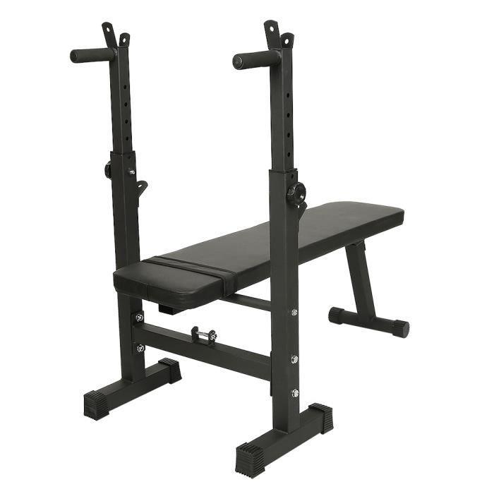 Banc de Musculation Multifonction Réglable Pliable - Support d'haltères Entrainement Complet