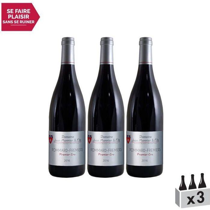 Pommard 1er Cru Les Fremiers Rouge 2017 - Lot de 3x75cl - Domaine Jean Monnier et Fils - Vin AOC Rouge de Bourgogne - Cépage Pinot