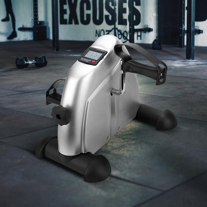 Mini vélo d'appartement pliable Pédale Réglable Entraîner des Bras et Jambes avec Écran LCD pour Entraînement de Cardio Noir -SIE
