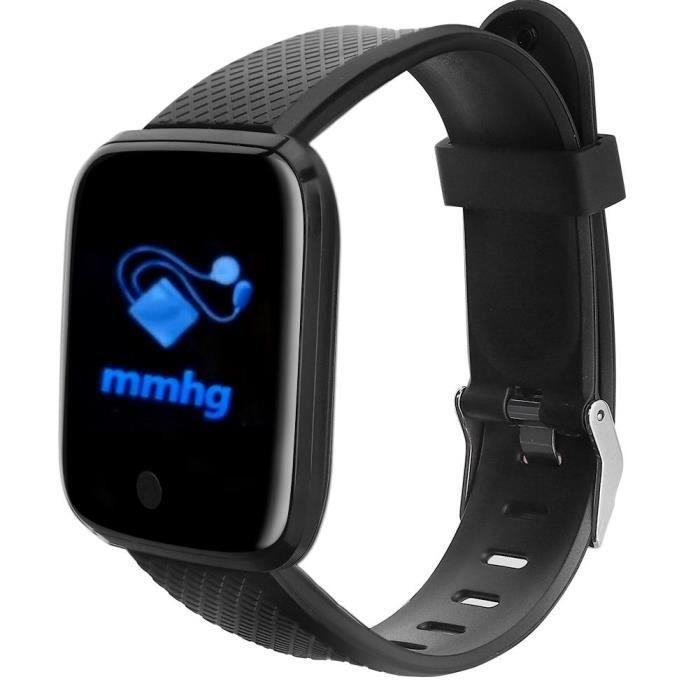 D13 noir 1,3 pouces écran couleur montre de sport fréquence cardiaque pression artérielle sommeil IP67 étanche (Noir )