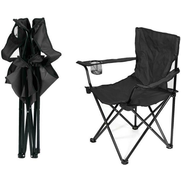 Fauteuil de camping 2pcs NOIR Chaise Pliante de pêche @ BonAchat