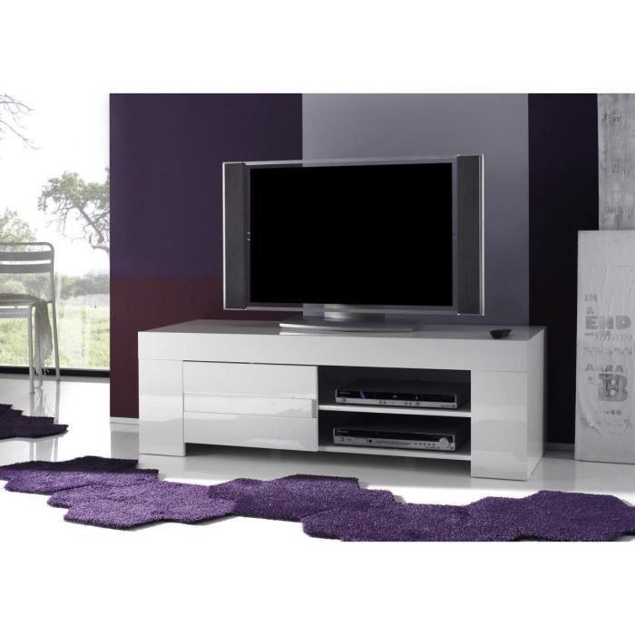 Meuble TV hifi blanc laqué design ELEONORE L 140 cm L 140 x P 50 x H 45 cm Blanc