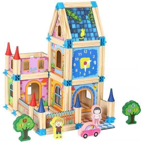 128 pièces Blocs de Construction en Bois Jeu De Construction Jouets Puzzle éducatifs,Assemblé Maison Modèle Jouets pour Enfant