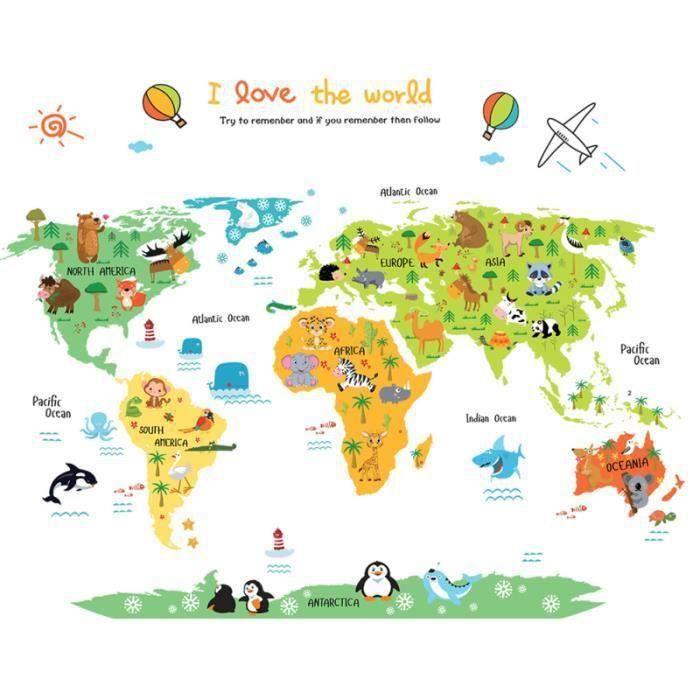Creative Peel and Stick bricolage animaux non toxiques carte du monde stickers muraux papier peint Stickers pour enfants chambre