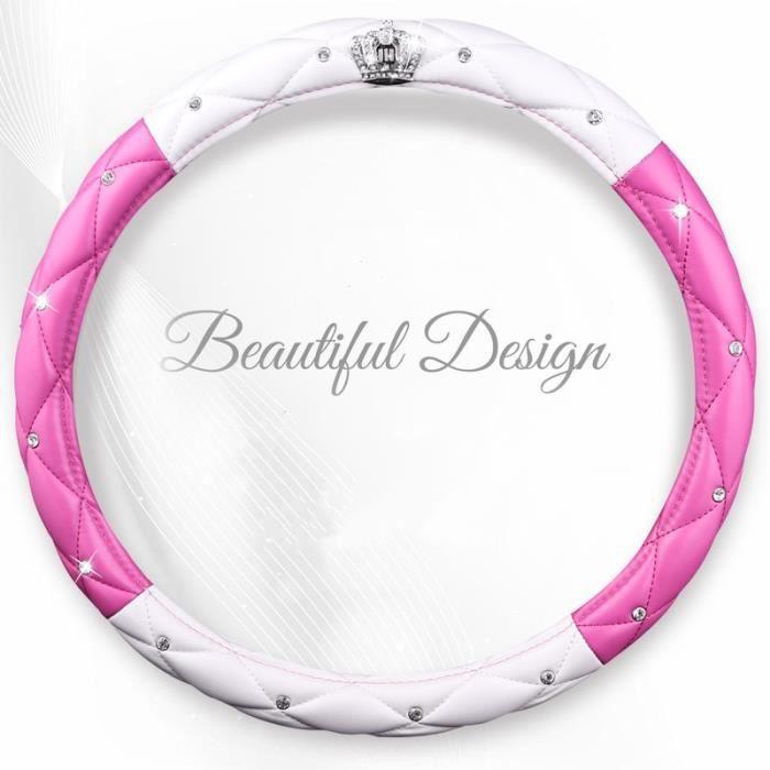 Couvre volant,Mode femmes PU cuir voiture volant couvre diamant noir rose Auto volants housses pour dame filles - Type pink white