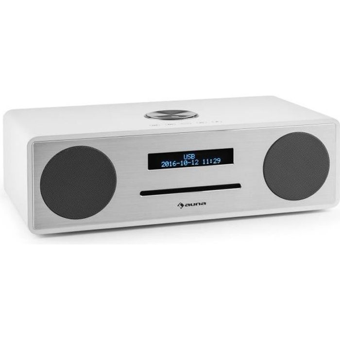 auna Stanford - Radio numérique Bluetooth avec lecteur CD et tuner DAB+-FM (entrée AUX, sortie casque, réveil) - bois blanc