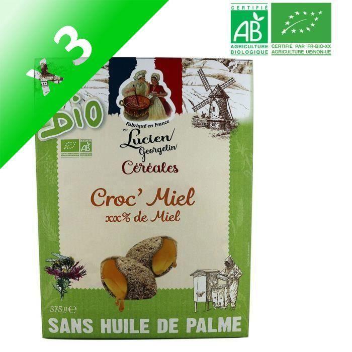 [LOT DE 3] LUCIEN GEORGELIN Céréales Croc' Miel bio - 375 g