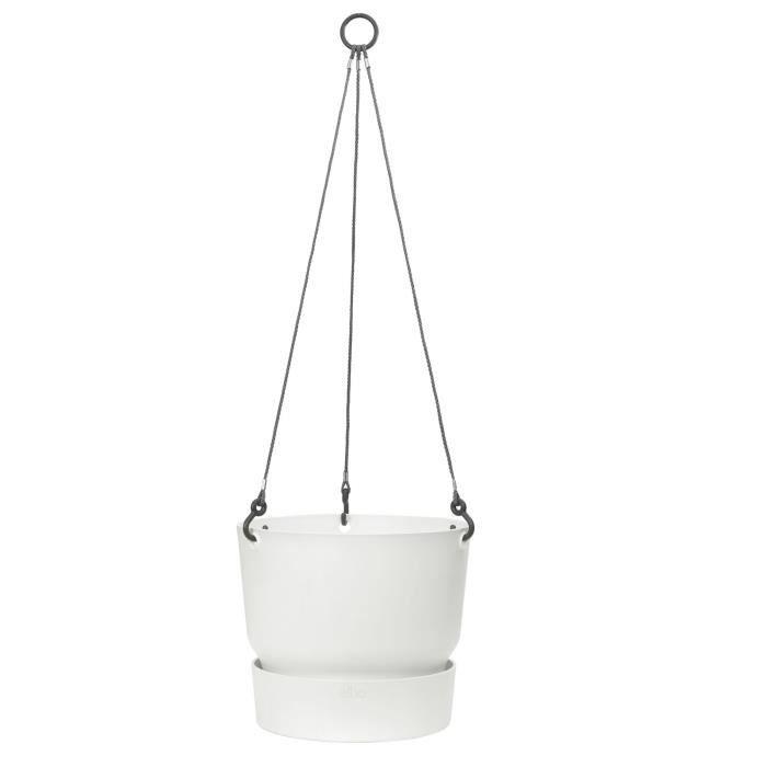 ELHO Pot de fleurs à suspendre Greenville 24 - Extérieur - Ø 23,9 x H 20,3 cm - Blanc