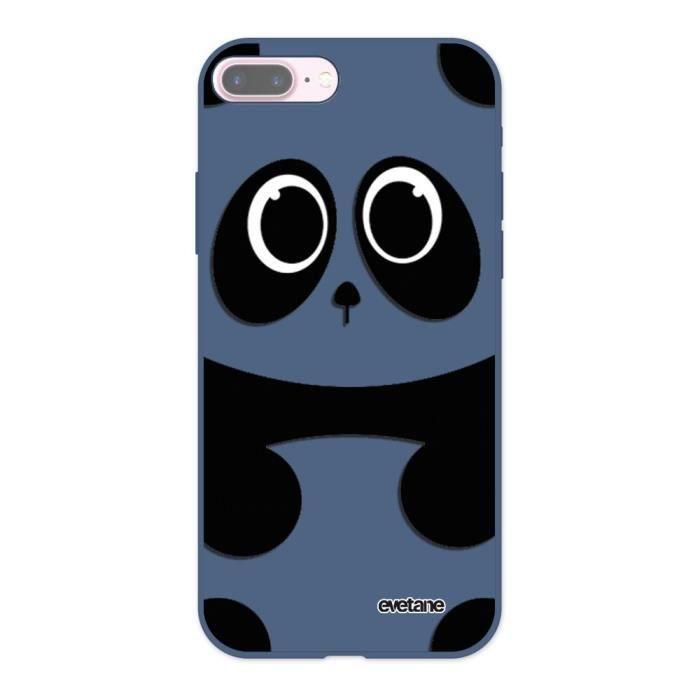 Coque iPhone 7 Plus / 8 Plus Silicone Liquide Douce bleu nuit Panda Ecriture Tendance et Design Evetane.