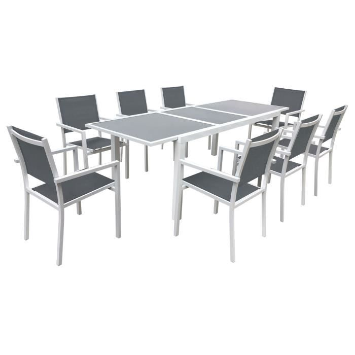 Salon de jardin en aluminium 8 places