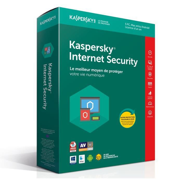 KASPERSKY Internet Security 2018 - 5 Postes / 1 An