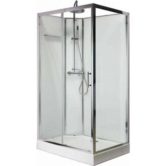 KRONE - Cabine de douche 110*80 cm - Blanche - Rectangle - BLOSSOM