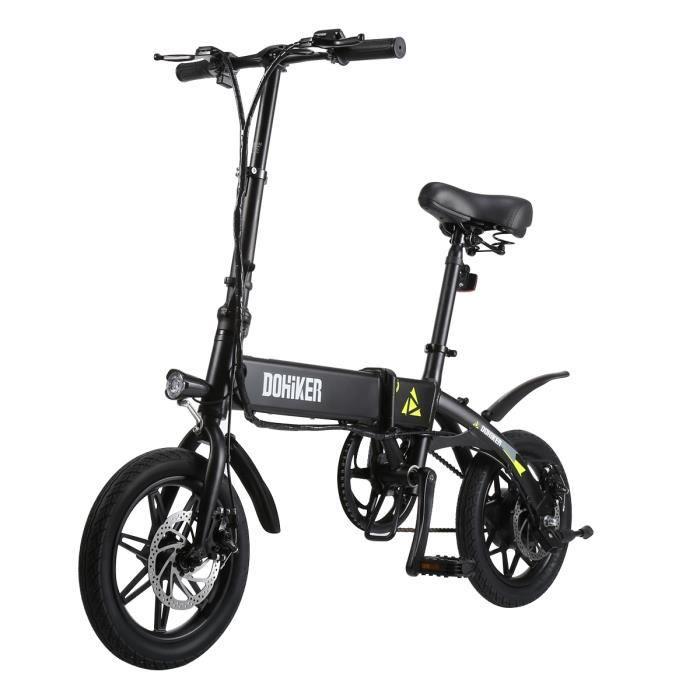 Vélo Électrique Pliant - DOHIKER Vélomoteur Pliable - 25km/h - Trois modes de conduite - Port USB - Noir