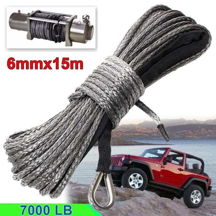 NEUFU 6mmX15m Dyneema Corde de Treuil Synthétique Cable pour ATV SUV Voiture 7000 LB Gris