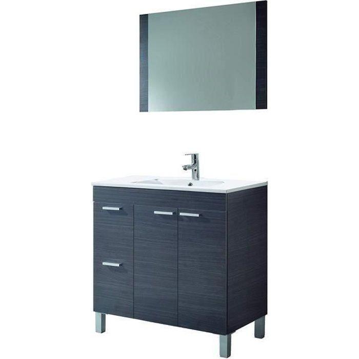 Meuble Sous-Vasque avec 2 portes Abattante et 2 Tiroirs + 1 Miroir coloris gris cendré - 80 x 80 x 45 cm