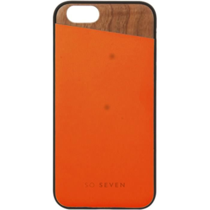 SO SEVEN DANDY Coque BOIS + PU ORANGE - IPHONE 7