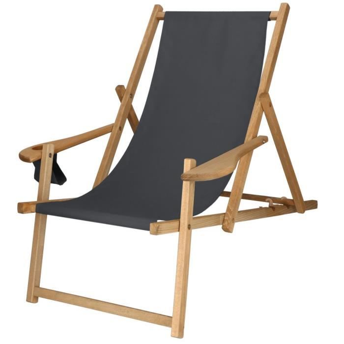 Chaise longue en bois imprégné Avec accoudoirs - graphite