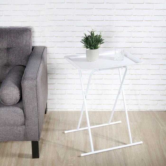Table d'appoint pliable design Zoé - L. 53 x H. 66 cm - Blanc