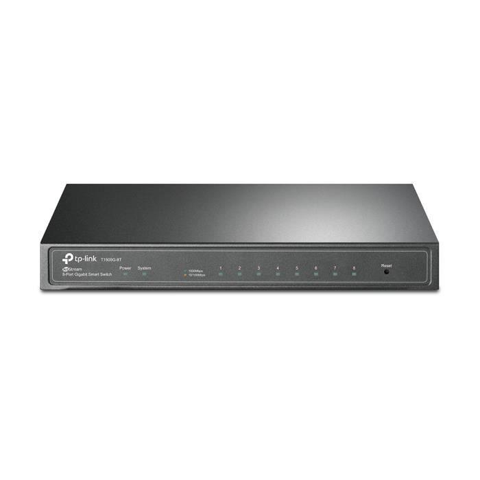 TP-LINK Smart Switch 8-port Pure-Gigabit Desktop, 8 10/100/1000Mbps RJ45 ports, Tag-based VLAN, STP/RSTP/MSTP, IGMP V1/V2/V3