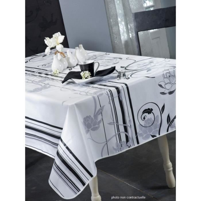 nappe en toile cir e ovale 180x240 cm design blanc achat vente nappe de table cdiscount. Black Bedroom Furniture Sets. Home Design Ideas