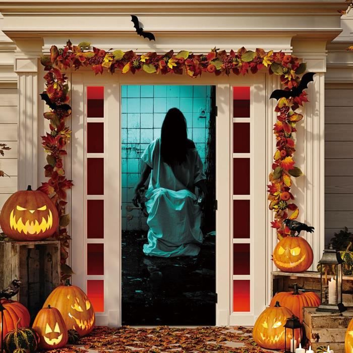 Love Halloween Decoration Maison Hantee Fenetre De Porte Couverture