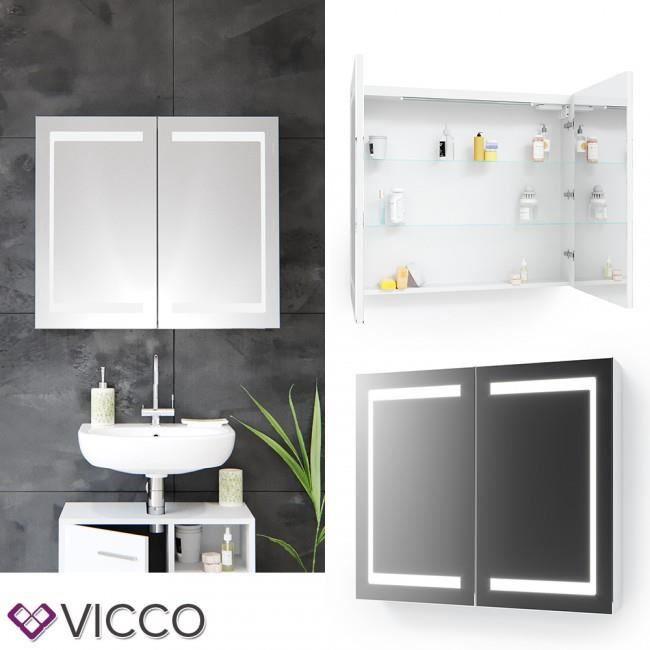 VICCO LED miroir armoire blanc salle de bains armoire salle de bains miroir  salle de bains miroir éclairage (80 cm)