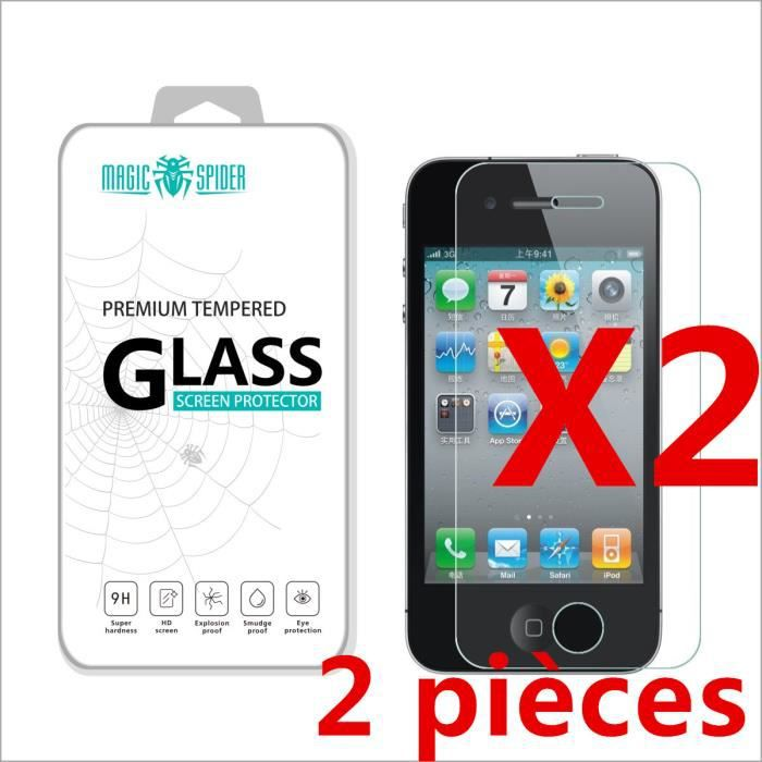 2 pi ces protection cran verre tremp pour iphone 4s film prot ge ecran vitre 2 5 d anti casse. Black Bedroom Furniture Sets. Home Design Ideas