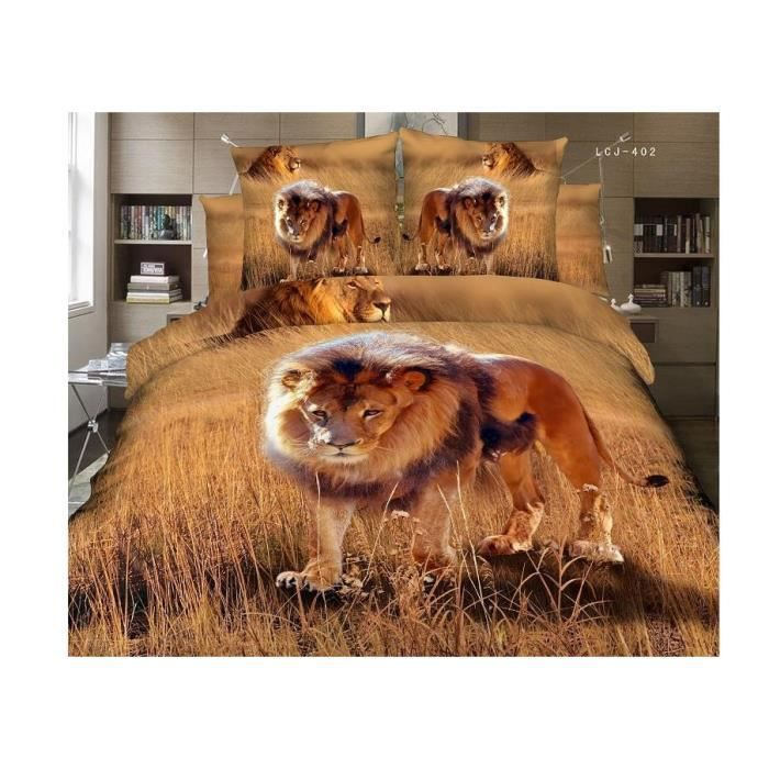 parure 3d 2 pers lion dans la savane achat vente parure de drap cdiscount. Black Bedroom Furniture Sets. Home Design Ideas