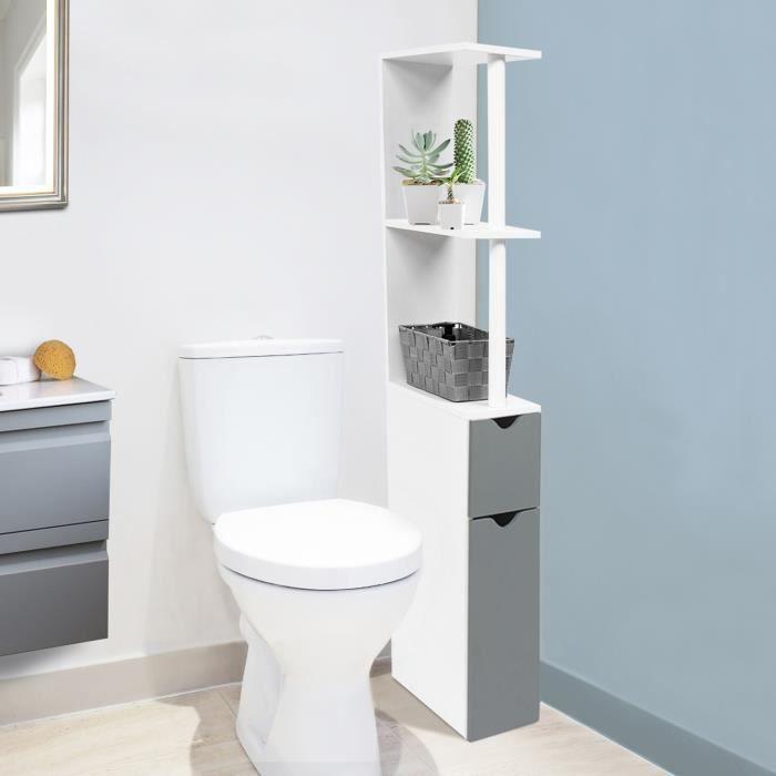 Meuble Wc étagère Bois Gain De Place Pour Toilette 2 Portes