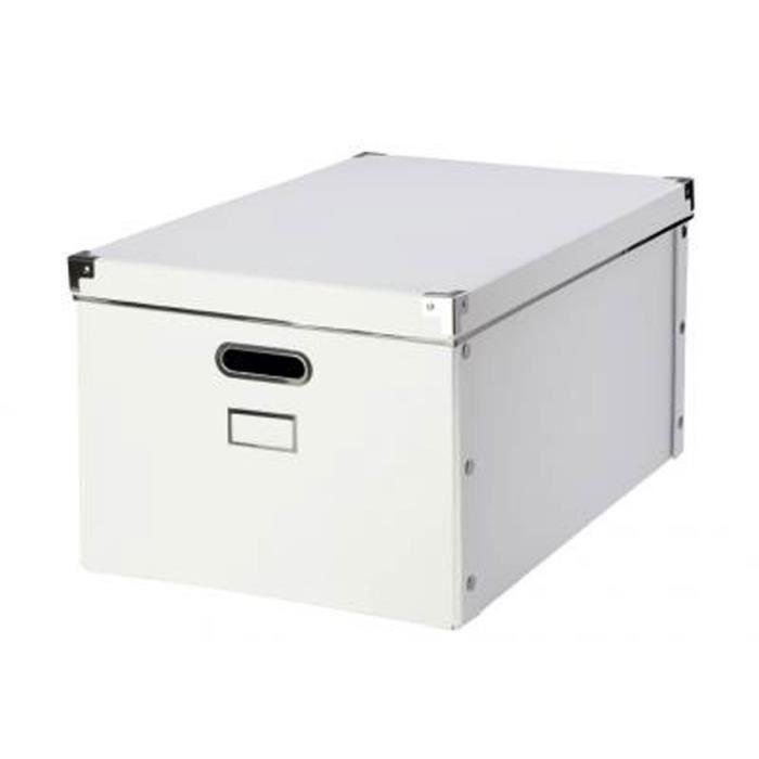 BOITE DE RANGEMENT Boite en carton blanche avec armature en métal Bla