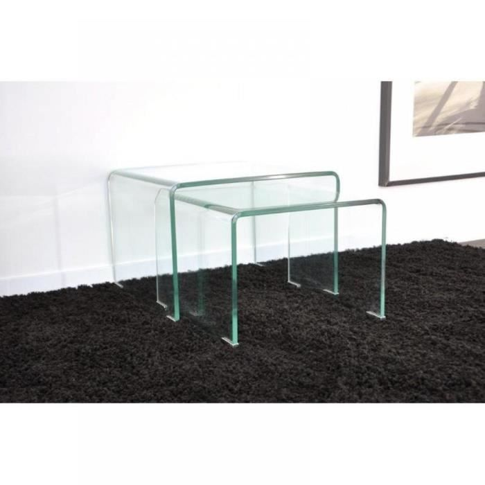 wave gigogne transparente 2 tables verre design achat vente table gigogne wave gigogne. Black Bedroom Furniture Sets. Home Design Ideas