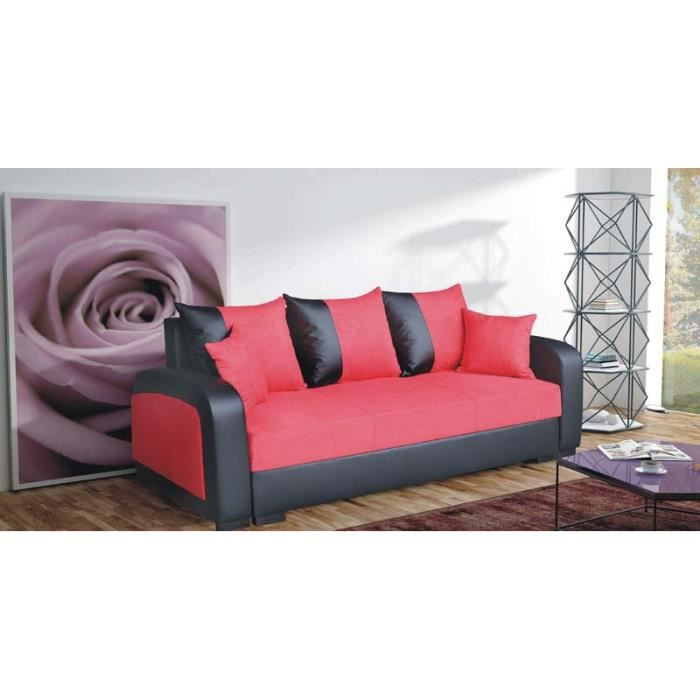 canap convertible 3 places fiona rouge achat vente canap sofa divan tissu simili. Black Bedroom Furniture Sets. Home Design Ideas