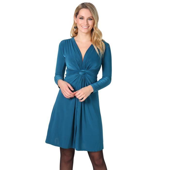 Robe Drapee Turquoise Achat Vente Robe Cdiscount