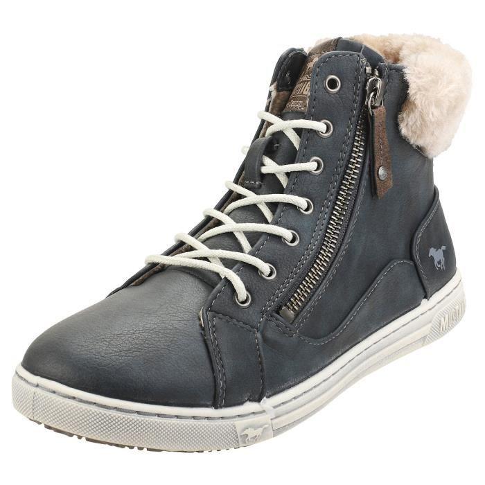 BasketsMustangHigh Top Side Zip SneakerFemmeBleu naval