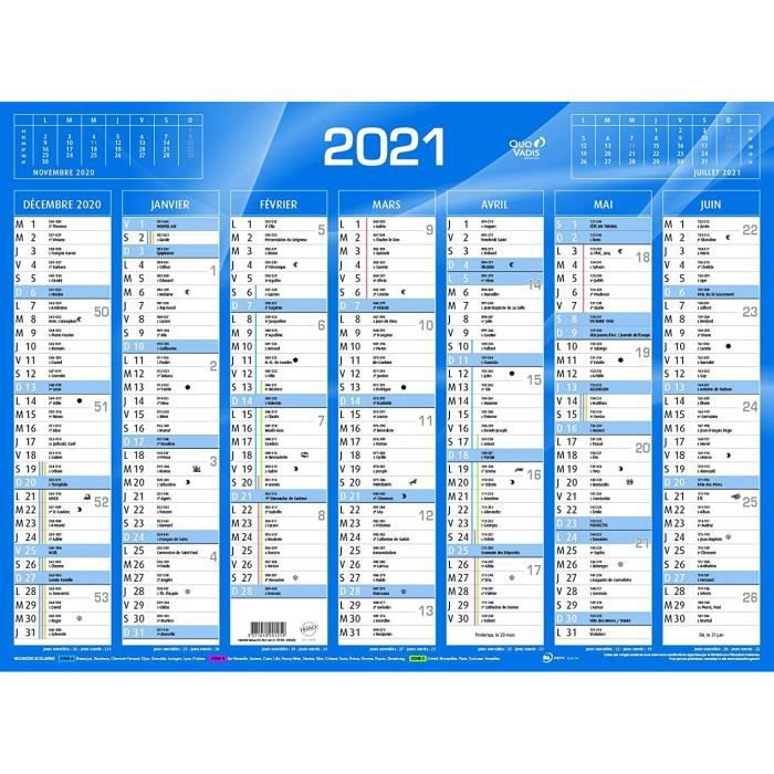 QUO VADIS   1 Calendrier de Banque Bleu   Année 2021 55x40,5 cm